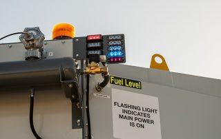 Fuel level indicator lights on JMS 20 Mobile Diesel Track Dust Collector